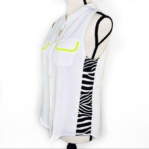 Line & Dot Contrast Zebra Print Sleeveless Top